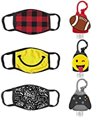 ABG Accessories Boys 3-Pack Kids Face Mask and Hand Sanitizer Holder Keychain (1 Fl Oz. Flip Cap Reusable Empty Bottles) 4-10
