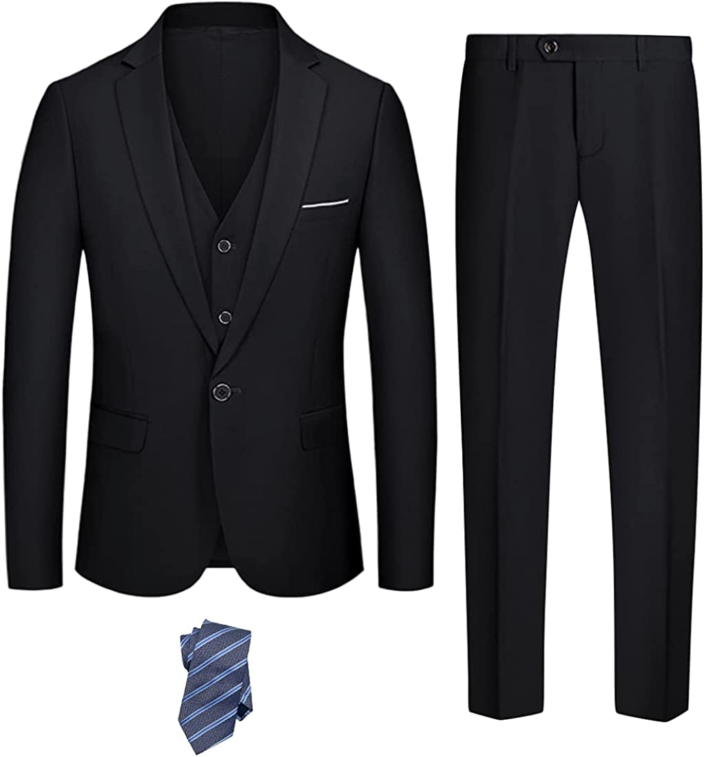 YND Columbus Mall Men's Slim Fit 3 Piece Suit Button One Ves Blazer Set Max 85% OFF Solid