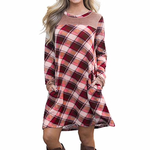 BCDshop Women's Plaid Patchwork Dress Flared Tunic Mini Dress With Pocket T-Shirt (L) by BCDshop