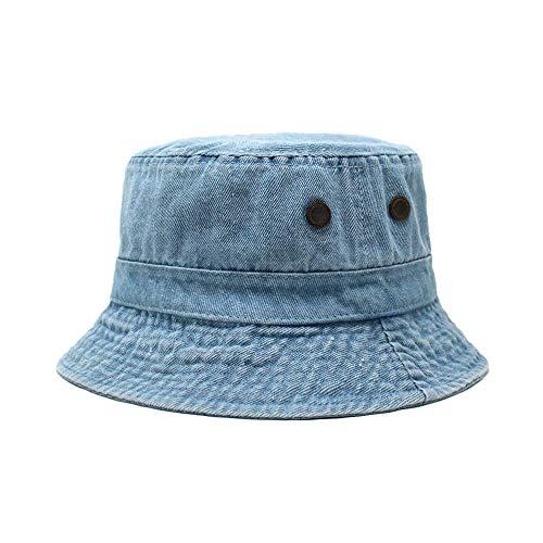 Cotton Bucket Hat | Packable Summer Travel Hat | Fishing Hat | 7 Colors (Light Denim)