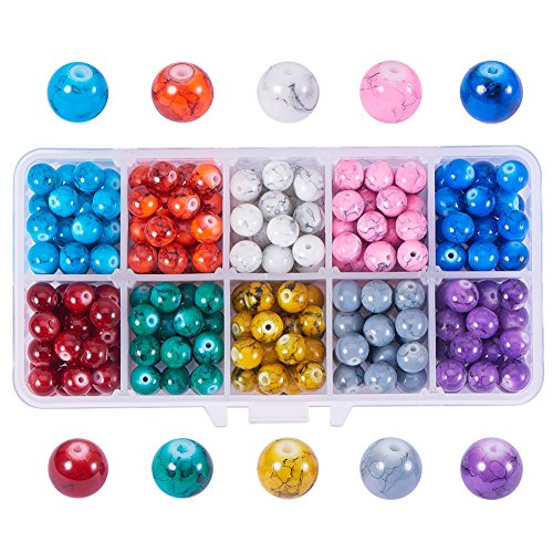 PH PandaHall 1 Box (about 300 pcs) 10 Color 8mm Round Drawbench Flowering Effect Glass Beads Assortment Lot for Jewelry Making ()