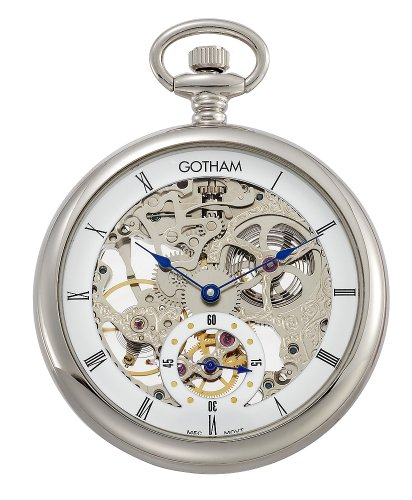 Gotham-Mens-Silver-Tone-Mechanical-Pocket-Watch-with-Desktop-Stand-GWC14069S-ST