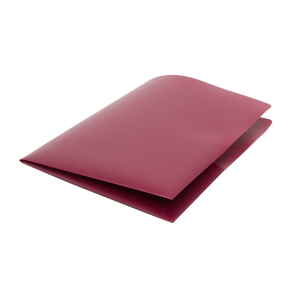 Four Point PP1510 - 120 Durable Heavy Duty Poly 8.5'' x11''  Pocket Folders, Cranberry Color, 2 Pockets, Business Card slots, Superior Strength, Made in USA