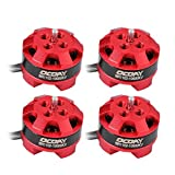 4 pcs Ocday BR1102 10000KV 1-3s Brushless Motors for 50 80 100 Multirotor Quadcopter Drone Red by Otryad
