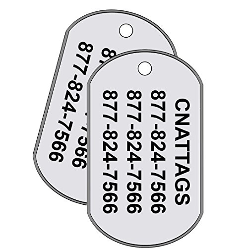 - CNATTAGS Stainless Steel Dog Tags - GI Rolled Edge US Military Shape, Personalized (Set of 2)
