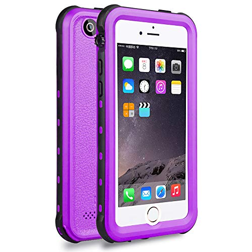 iPhone 5S / SE Waterproof Case, Waterproof Dust Proof Snow Proof Shock Proof Case with Touched Transparent Screen Protector, Heavy Duty Protective Carrying Cover Case for iPhone 5 5s SE (T-Purple)