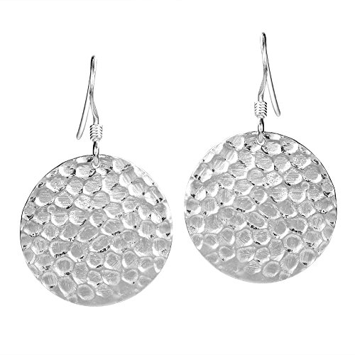 Round Hammered Textured Disc .925 Sterling Silver Dangle Earrings (Textured Sterling Silver Disc)
