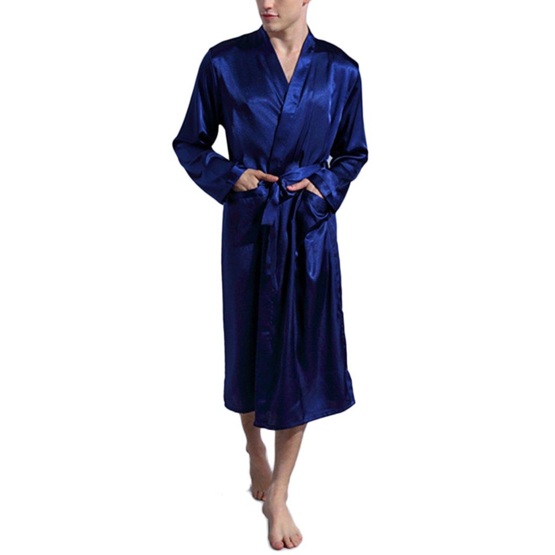 Kimono Robe for Men, Men V Neck Satin Robe Kimono Long Bathrobe Lightweight Sleepwear Wedding (Dark Blue,Medium/US M)