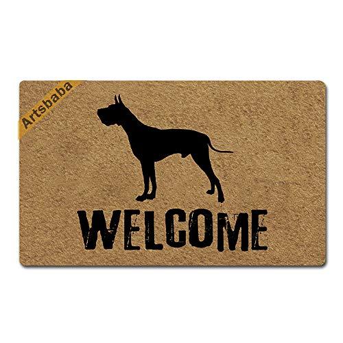 Artsbaba Welcome Dog Doormat Great Dane Door Mat Rubber Non-Slip Entrance Rug Floor Mat Balcony Mat Funny Home Decor Indoor Mat 30 x 18 Inches, 0.18 Inch Thickness (Great Dane Doormat)
