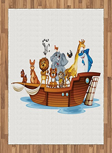 Ark Area Rug by Ambesonne, Illustration of Many Animals Sailing in the Boat Mythical Journey Faith Giraffe, Flat Woven Accent Rug for Living Room Bedroom Dining Room, 5.2 x 7.5 FT, Multicolor by Ambesonne