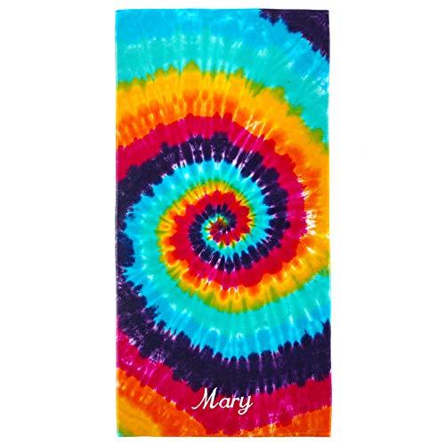 Kaufman -Personalized Tie-Dye Velour Beach & Pool Towel - 30in x 60in (Rainbow)