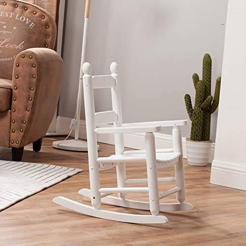 B Z KD-20W Rocking Kid s Chair Wooden Child Toddler Patio Rocker Classic White