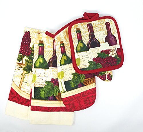 Lovers Pot Holder (KitchenDeiz Linen Set of 5: One Oven Mitt, Two Pot Holders and Two Towels (Red Wine Lovers))