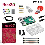 Neego Raspberry Pi 3 B+ (B Plus) Ultimate Education Starter Kit, B+ Motherboard, 32-GB Micro SD Card Preloaded With Noobs, 10-Piece Education Kit, Heatsinks, Clear Case, 2.5A Power Supply, HDMI Cable,