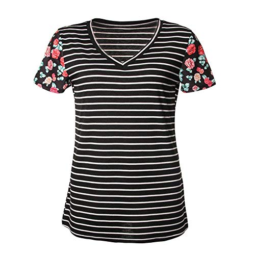 Femme Et T Chic lgant Chemisiers Courtes Schwarz Casual Mode Cou Shirt Basic Manches Shirts Costume Baggy V Tops Loisir Rayures Fille IggrqTw