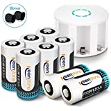 Keenstone 8Pcs RCR123A Rechargeable Camera Batteries 750mAh Li-ion Rechargeable Battery 8-Slot Charger Arlo VMS3030/3230/3330/3430 Cameras