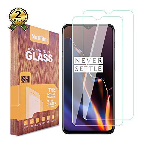 Oneplus 6T Screen Protector, NutFilm Case Friendly, Anti Fingerprint, Easy to Install Without Bubbles Tempered Glass Screen Protector for One Plus 6T, 2-Packs