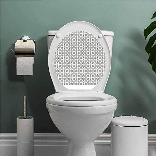 Dale Earnhardt Seat Covers - SCOCICI1588 Diamonds Toilet Seat Tattoo Cover Monochrome Geometrical Design with Herringbone Pattern Triangles Abstract Pattern Vinyl Bathroom Decor Ivory Black W14XL16 INCH