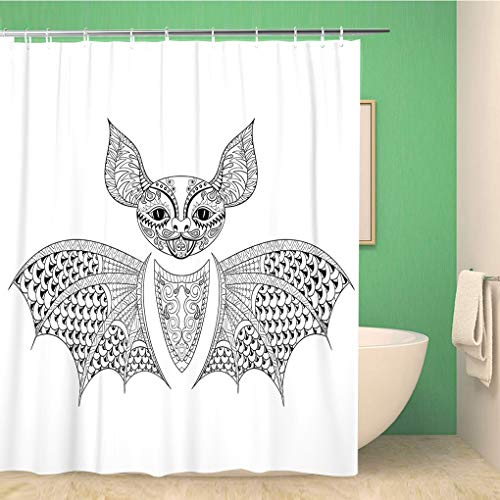 Awowee Bathroom Shower Curtain Zentangle Bat Totem for Adult Anti Stress Coloring Page Polyester Fabric 72x72 inches Waterproof Bath Curtain Set with Hooks]()