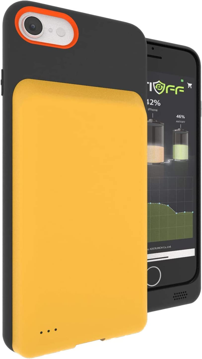 ANTIOFF Battery Case for iPhone 7/8/SE2020(4.7 inch), Portable Protective Charging case, Extended Rechargeable & Replaceable 2600mAh Battery Charger Case Compatible with Apple iPhone (Yellow)