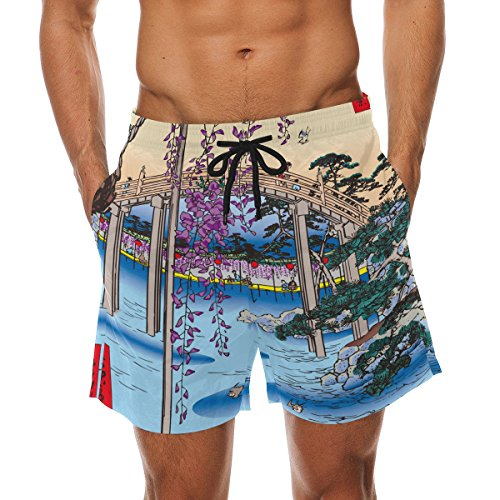 super3Dprinted Ukiyoe Ukiyo-E Print Men's Swim Trunks Water Beach Shorts with Pockets (Boom Beach Best Statues)