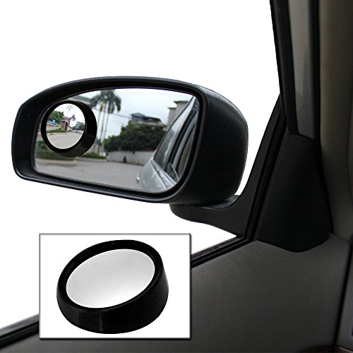 2pcs Black Frame 360 View Adjustable Wide Angle Convex Rear Side View Blind Spot Mirror for - Frame Spot