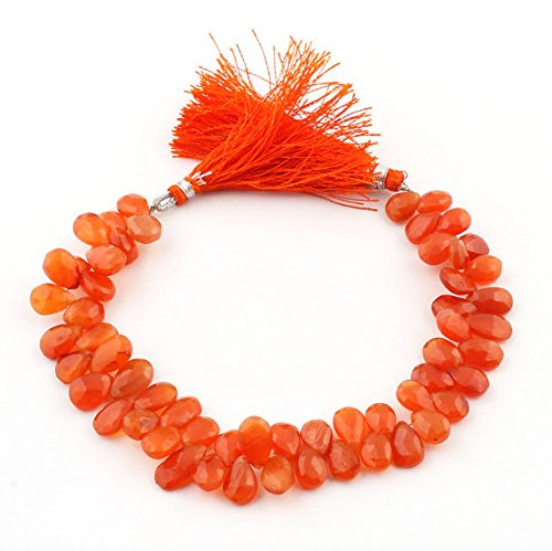 JP_Beads 1 Strand Carnelian Faceted Briolettes -Pear Drop Beads 9mmx7mm-13mmx7mm 8 inches ()
