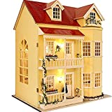 Flever Dollhouse Miniature DIY House Kit Manual Creative With Furniture and Cover for Romantic Artwork Gift-Great Villa (Fairy Homeland)