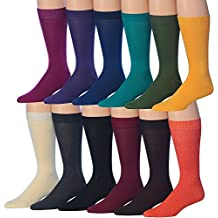 James Fiallo Men's 12-Pairs Solid Colored Bold Lightweight Dress Socks