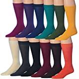 James Fiallo Men's 12-Pairs Solid Colored Bold Lightweight Dress Socks, MC13-12