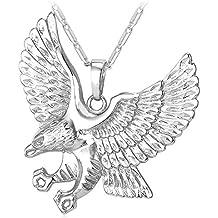 U7 Men 18K Stamp Gold Plated American Eagle Pendant Necklace