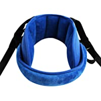 Adjustable Toddler Car Seat Head Support Band, Carseat Straps Cover, Safety Car Seat Neck Relief, Infants and Baby Head Support,Blue