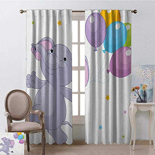 GUUVOR Nursery Blackout Curtain Happy Elephant with Colorful Balloons and Stars Cheerful Fun Kids Cartoon 2 Panel Sets W42 x L84 Inch Lilac Multicolor (Furniture Thomas Obrien)