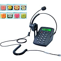 LeeKer LK-P023B Call Center Corded Headset Telephone with Caller ID Office Desk Phone Landline(Black)