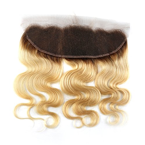 Bella Hair Ombre 1B/613 Body Wave Lace Frontal Closure with Baby Hair, Pre-Plucked Dark Roots Remy Human Hair Frontal 13x4 Ear to Ear 18inch by Bella Hair