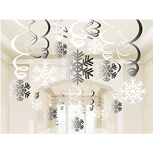 Holiday Winter Gift Wonderland (Snowflake Swirls Decoration(30pcs), Merry Christmas Snowflake Hanging Swirls Garland Foil Ceiling ornaments for Xmas Winter Wonderland Holiday Party Decor Supplies,Already Assembled)