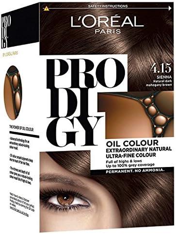LOreal Prodigy 4.15 Sienna - Tinte para el pelo (caoba, color marrón oscuro)