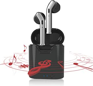 Wireless Earbuds Bluetooth Earbuds Headphones with One-Step Auto Pairing and Fast Charging Case Noise Cancelling IPX7 Waterproof Earbuds for iPhone Android Samsung (Black)