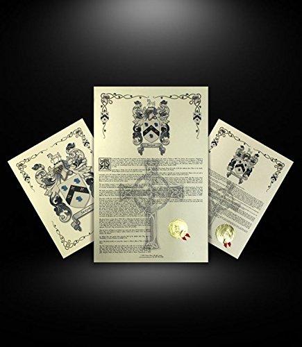 Haer - Surname - Armorial Name History & Coat of Arms Scroll - Combo Package - Family Crest - Genealogy - Heraldry - Heraldic - German Origin