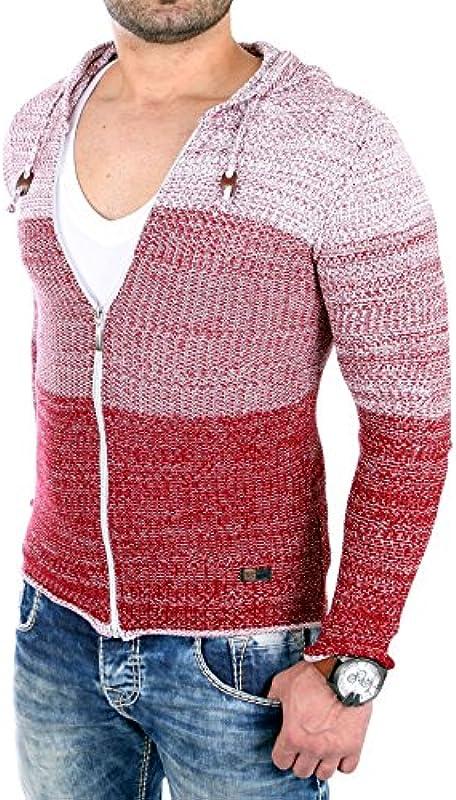 Reslad kurtka z dzianiny męska Color-Block sweter z kapturem Cardigan kurtka RS-3107: Odzież