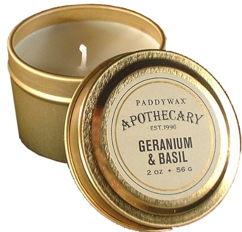 Paddywax Apothecary Collection Scented Travel Tin Candle, 2-Ounce, Geranium Basil - Celebration Gift Tin