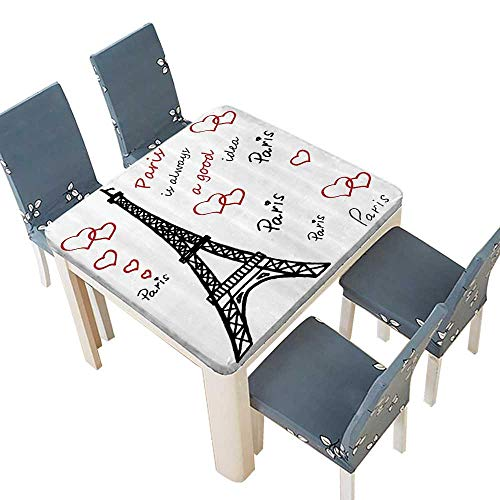 PINAFORE Polyester Tablecloths Eiffel Tower Paris is Always Good Idea Tourism Locatis SweLove Clipart for Indoor and Outdoor Use 53 x 53 INCH (Elastic Edge)