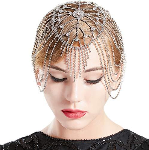 - BABEYOND Vintage Bridal Headpiece Roaring 20s Crystal Rhinestone Flapper Cap Headpiece for Wedding (Silver)