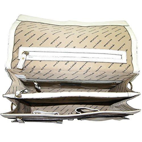 BARONE di MALTZAHN Valigetta portadocumenti GORBACIOV in cuoio anticato bianco + Cura del cuoio