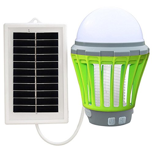 Green Day Trap - Highpot Solar LED Mosquito Killer Lamp Bug Zapper Fly Insect Bug Pest Mosquito Trap for Bedroom Patio Yard Portch Camping (Green)