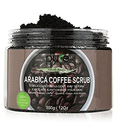 100% Organic Arabica Coffee Scrub 12 oz. with Natural Coffee, Coconut Oil & Shea Butter - Anti Cellulite & Stretch Mark Treatment, Therapy for Spider & Varicose Veins, Acne & Eczema