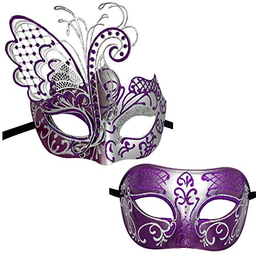 Xvevina Couples Pair Mardi Gras Venetian Masquerade Masks Set Party Costume Accessory (Purple Silver Couples) ()