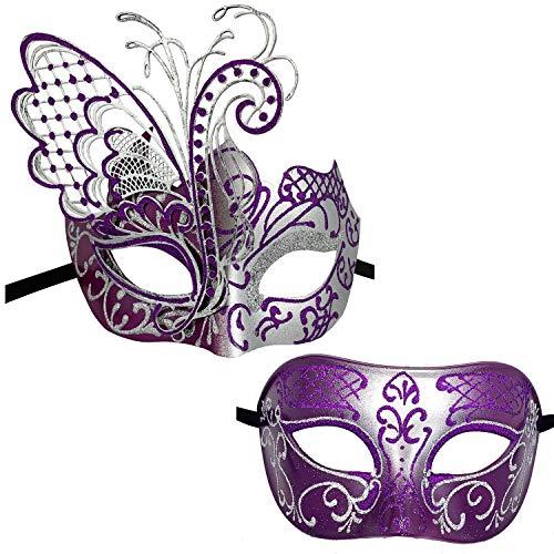 Xvevina Couples Pair Mardi Gras Venetian Masquerade Masks Set Party Costume Accessory (Purple Silver Couples) (Best Mardi Gras Party Ideas)