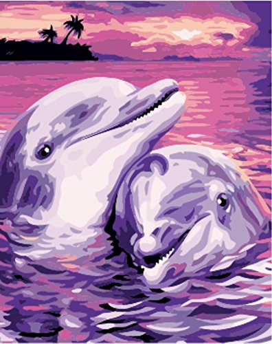 Wowdecor Paint by Numbers Kits for Adults Kids, Number Painting - Purple Love Empty, Two Dolphins Lovers 16x20 inch (Frameless)