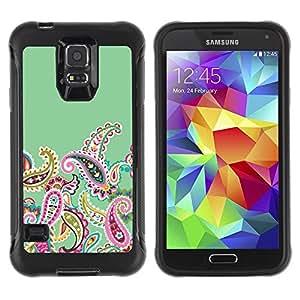 Suave TPU Caso Carcasa de Caucho Funda para Samsung Galaxy S5 SM-G900 / Native Floral Pattern Green / STRONG